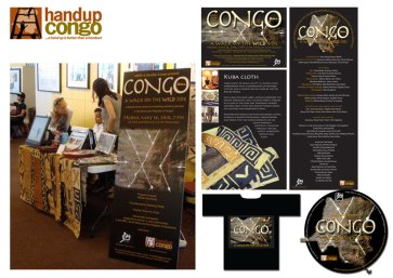 Promotional items for the HandUp Congo Charity Ball, Taipei, Taiwan